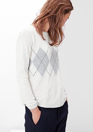 Fin pulover z rombastim vzorcem