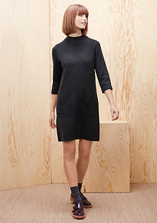Fine knit dress with a stand-up collar from s.Oliver