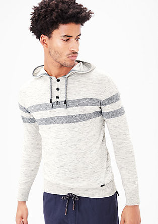 Fine knit hoodie with stripes from s.Oliver