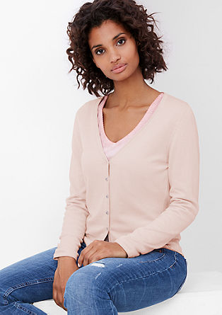 Fine knit jacket with a curled hem from s.Oliver