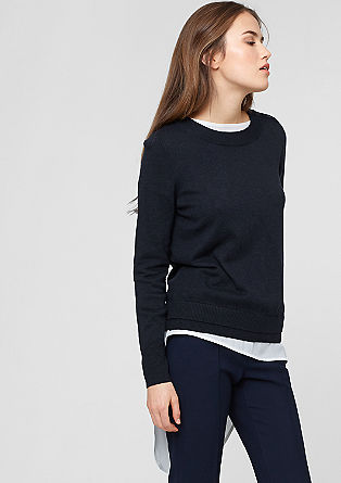Fine knit jumper with a button placket from s.Oliver
