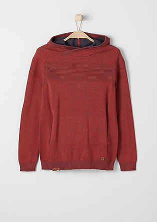 Fine knit jumper with a hood from s.Oliver