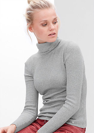 Fine knit jumper with a polo neck from s.Oliver