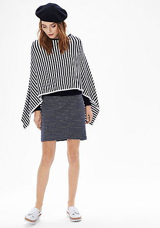 Fine knit poncho with striped pattern from s.Oliver
