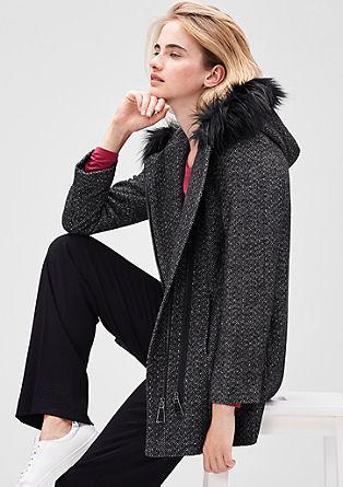 Fischgrat-Jacke mit Fake Fur