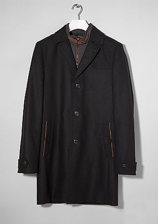 Fischgrat-Mantel mit Wolle
