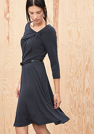Fitted jersey dress with polka dots from s.Oliver