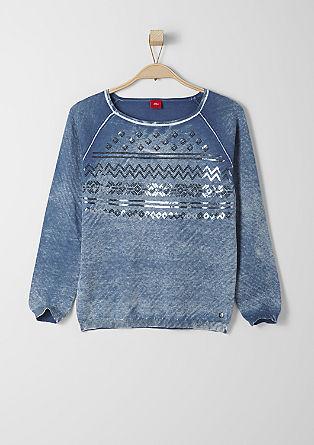 Flachstrick-Pullover mit Pailletten-Besatz