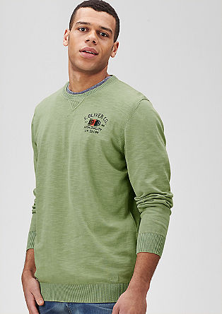 Flammgarn-Pullover mit Wascheffekt