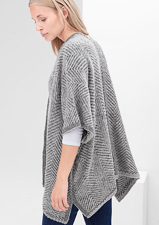 Flauschiger Poncho in Woll-Optik