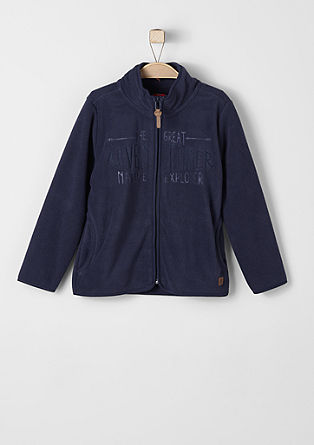 Fleece jacket with embossed lettering from s.Oliver