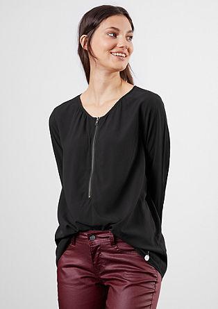 Fließende Bluse mit Zipp