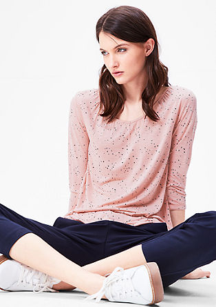 Fließendes Shirt mit Musterprint