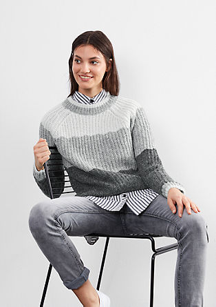 Fluffy knit jumper with stripes from s.Oliver