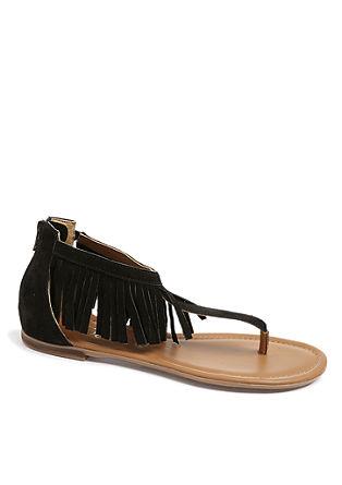 Fransen-Sandalen aus Veloursleder