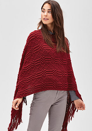 Fringe poncho in a patterned knit from s.Oliver
