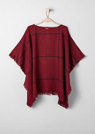 Fringe poncho with large checks from s.Oliver
