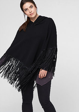 Fringed poncho in a hoodie style from s.Oliver