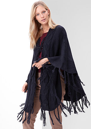 Fringed poncho with a cable knit from s.Oliver