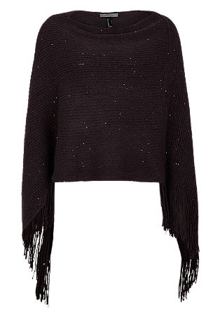 Fringed poncho with sequins from s.Oliver