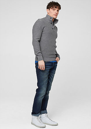 Funnel neck jumper with a wide stand-up collar from s.Oliver