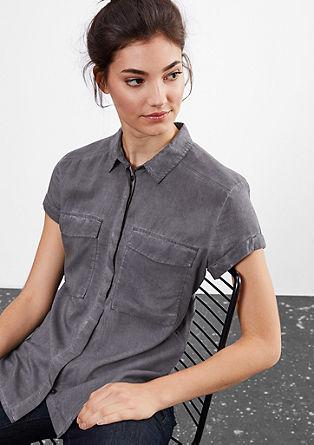 Garment Dye-Bluse mit Struktur