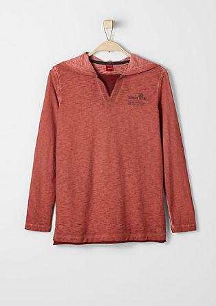 Garment dye longsleeve met capuchon