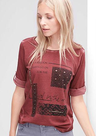 Garment Dye-Shirt mit Zierperlen