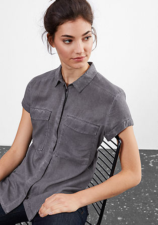 Garment-dyed, textured blouse from s.Oliver
