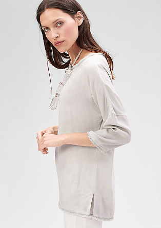 Garment-dyed blouse met franjes