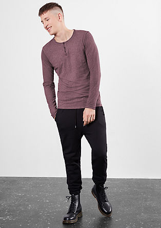 Garment-dyed Henley with an openwork pattern from s.Oliver