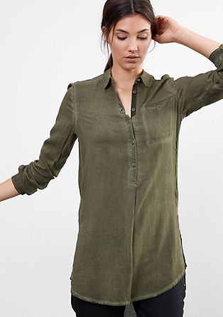 Garment-dyed herringbone blouse from s.Oliver