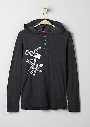 Garment-dyed hoodie met print