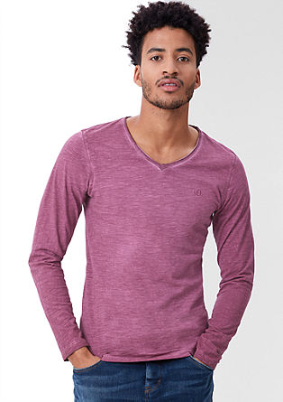 Garment-dyed long sleeve top from s.Oliver