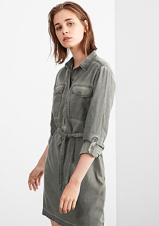 Garment-dyed shirt blouse dress from s.Oliver