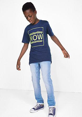 Garment-dyed shirt met neon print