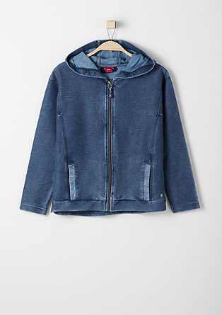 Garment-dyed sweatshirt jacket from s.Oliver