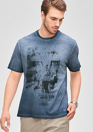 Garment-dyed T-shirt with a print from s.Oliver
