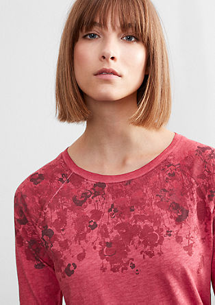 Garment-dyed top with 3/4-length sleeves from s.Oliver
