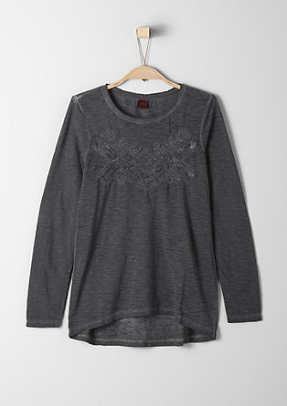 Garment-dyed top with 3D stitching from s.Oliver