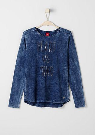 Garment-washed shirt met studs