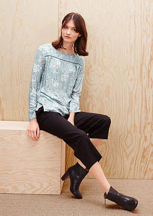 Gebloemd, crêpe shirt met een blouseachtige look