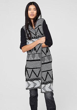 Gebreide mantel met een Azteken-motief