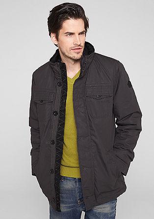 Gefütterte Canvas-Jacke mit Stehkragen