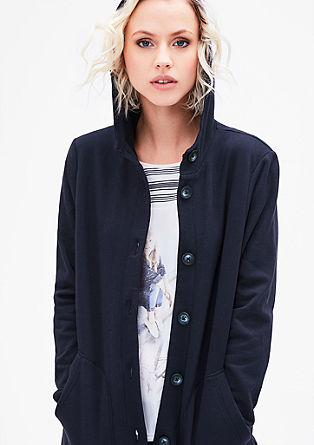 Geknöpfte Long-Sweatjacke