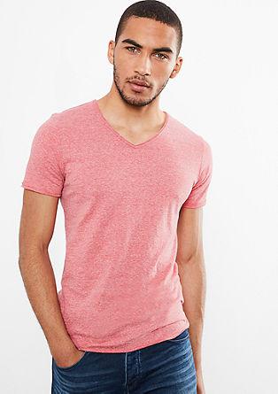 Gemêleerd basic shirt met een V-hals