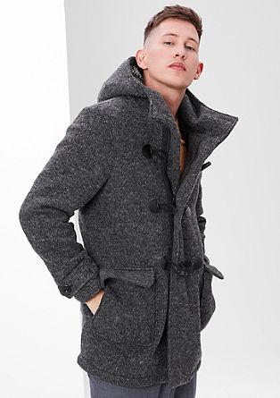Gemêleerde duffelcoat met pluche