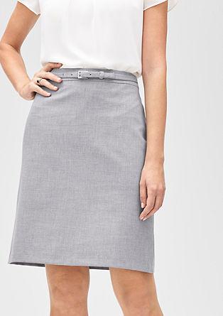 Gemêleerde rok met riem van textiel