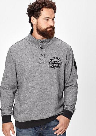 Gemêleerde sweater met een knoopsluiting