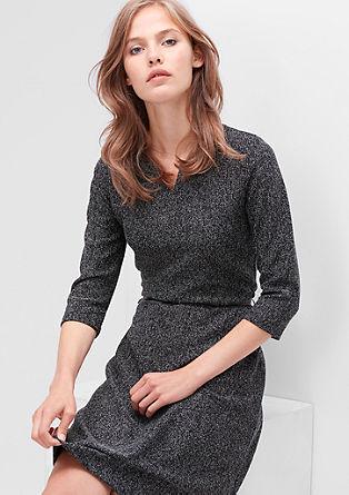 Gemêleerde tricot jurk met ceintuur